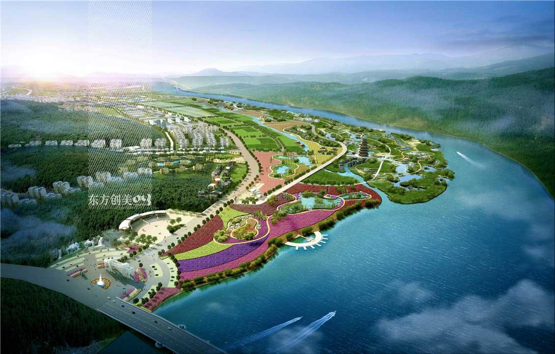 """项目地点: 四川省遂宁市射洪县境内,毗邻涪江。  总平面图 涪江禾谷国家农业公园——是我们赋予规划区的总体定位。结合城市发展、土地现状,我们以农业产业为根基,按照农业产业化、新型城镇化的发展模式,构建""""产业+旅游+文化""""的功能体系,创意实现""""农业公园化、主题化、景观化"""",将规划区打造成集全生命链第三代农场、原创度假品牌于一体的农业综合开发项目,四川三代农场,国家5A级旅游景区。  鸟瞰图 空间布局与功能分区 空间布局规划区在空间上体现"""